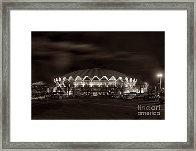 Framed Print featuring the photograph night WVU Coliseum basketball arena by Dan Friend