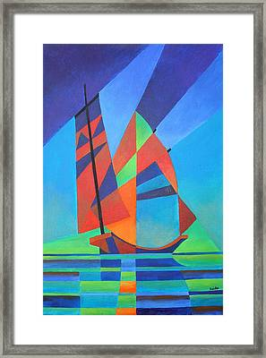 Framed Print featuring the painting Nightboat by Tracey Harrington-Simpson