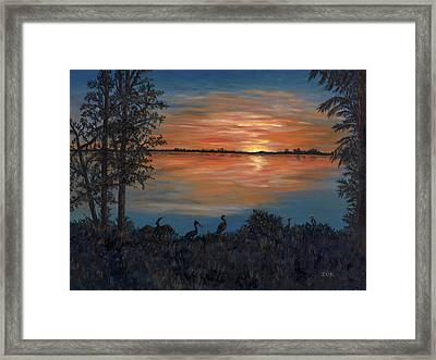 Nightfall At Loxahatchee Framed Print by Karen Zuk Rosenblatt