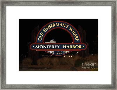 Nightfall At The Old Fishermans Wharf At The Monterey Harbor California 5d25175 Framed Print