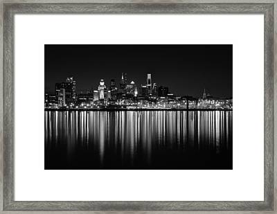 Nightfall In Philly B/w Framed Print