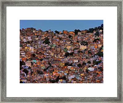 Nightfall In The Favela Da Rocinha Framed Print by Adelino Alves