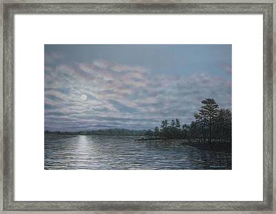 Framed Print featuring the painting Nightfall - Moonrise On The Waterfront by Kathleen McDermott