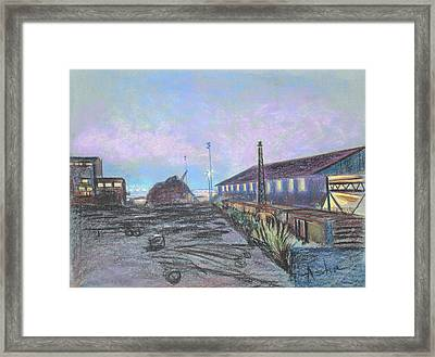 Nightfall On The Metal Mountain At Schnitzer Steel Framed Print