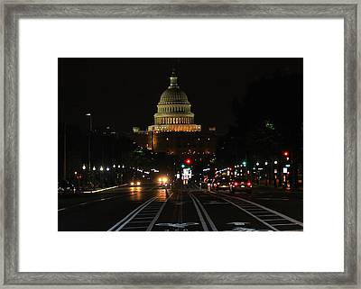 Nightime On Capitol Hill Framed Print by DustyFootPhotography