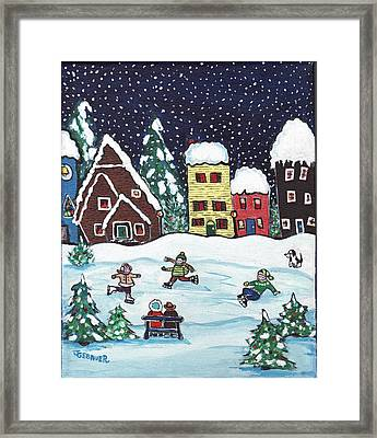 Framed Print featuring the painting Nightime Skaters by Joyce Gebauer