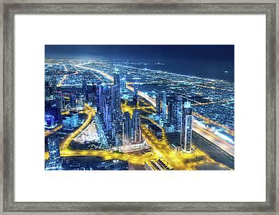 Nightlife In Dubai Framed Print by Valentinrussanov