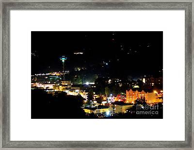 Nightlight In Gatlinburg Framed Print