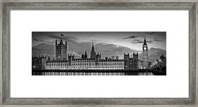 Nightly View London Houses Of Parliament Bw Framed Print