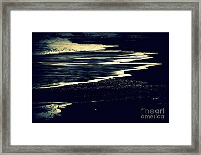 Nightly Waves By The Ocean Shore Framed Print