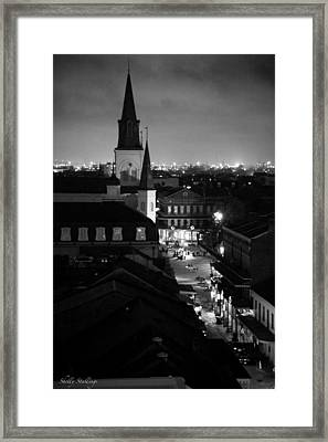 Framed Print featuring the photograph Nightscape B/w by Shelly Stallings