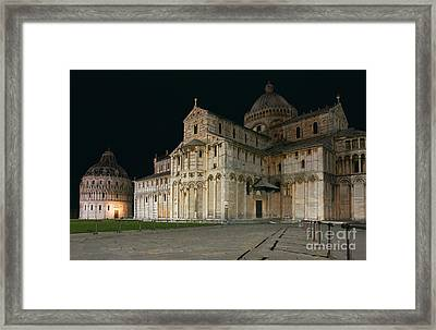 Nightshot Of Piazza Dei Miracoli In Pisa Framed Print by Kiril Stanchev