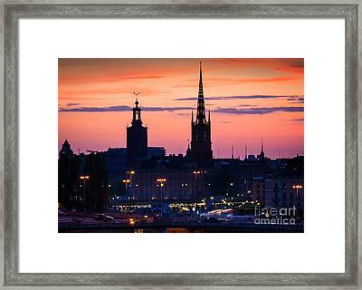 Nightsky Over Stockholm Framed Print by Inge Johnsson