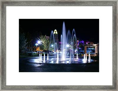 Nighttime At Chico City Plaza Framed Print by Abram House