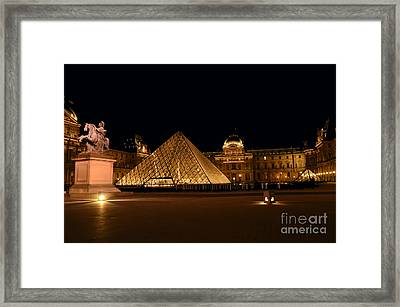 Nighttime At Musee Du Louvre Framed Print