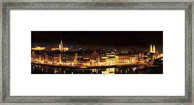 Nighttime In Zurich Framed Print by Marc Huebner