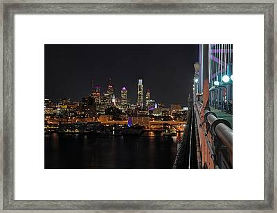 Nighttime Philly From The Ben Franklin Framed Print by Jennifer Ancker