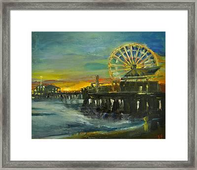 Nighttime Pier Framed Print by Lindsay Frost
