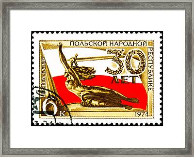 Nike Holding A Sword With The Polish Flag Behind Framed Print by Jim Pruitt