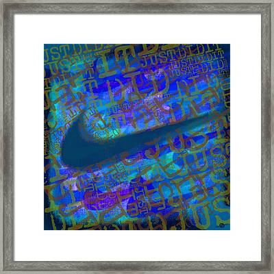 Nike Just Did It Blue Framed Print by Tony Rubino