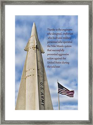 Nike Missile Thanks Framed Print