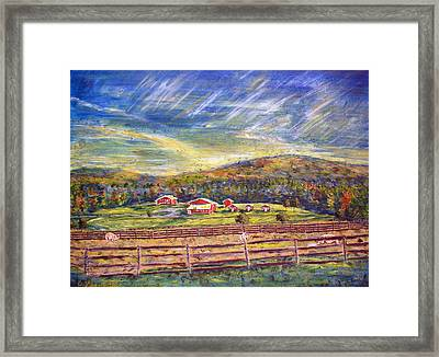 Nikki And Her Babies' Farm Sanctuary Portrait Framed Print by Denny Morreale