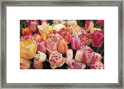 Framed Print featuring the painting Nikki's Tulips by Tim Gilliland