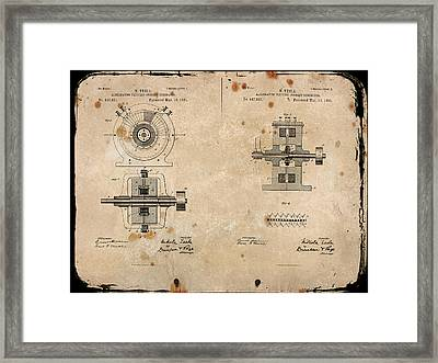 Nikola Tesla's Alternating Current Generator Patent 1891 Framed Print