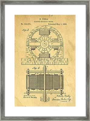 Nikola Tesla Coil Patent Art Framed Print by Edward Fielding