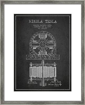 Nikola Tesla Electro Magnetic Motor Patent Drawing From 1888 - D Framed Print