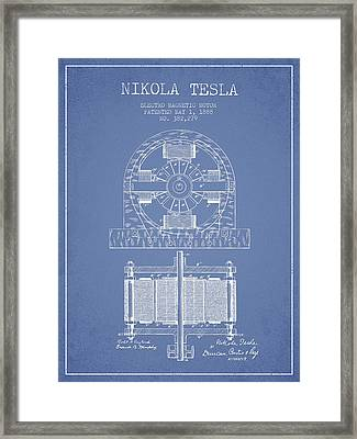 Nikola Tesla Electro Magnetic Motor Patent Drawing From 1888 - L Framed Print by Aged Pixel