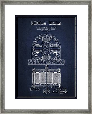 Nikola Tesla Electro Magnetic Motor Patent Drawing From 1888 - N Framed Print by Aged Pixel