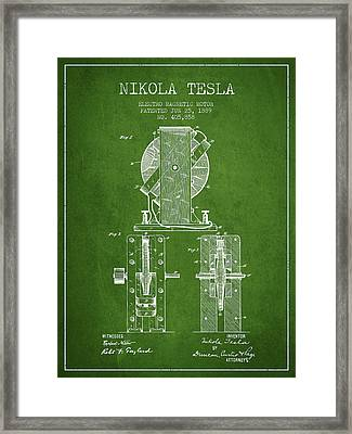 Nikola Tesla Electro Magnetic Motor Patent Drawing From 1889 - G Framed Print by Aged Pixel