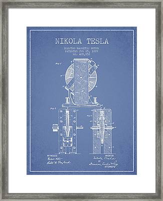 Nikola Tesla Electro Magnetic Motor Patent Drawing From 1889 - L Framed Print by Aged Pixel