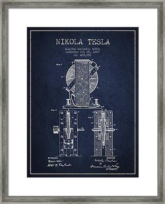 Nikola Tesla Electro Magnetic Motor Patent Drawing From 1889 - N Framed Print by Aged Pixel