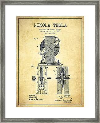 Nikola Tesla Electro Magnetic Motor Patent Drawing From 1889 - V Framed Print
