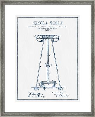Nikola Tesla Energy Apparatus Patent Drawing From 1914  - Blue I Framed Print by Aged Pixel