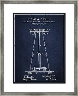 Nikola Tesla Energy Apparatus Patent Drawing From 1914 - Navy Bl Framed Print by Aged Pixel