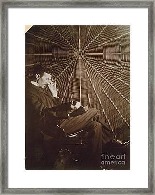 Nikola Tesla Framed Print by Granger