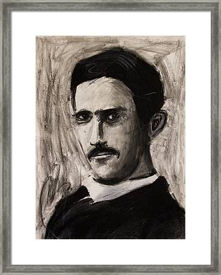 Nikola Tesla In Coat Charcoal Drawing Framed Print