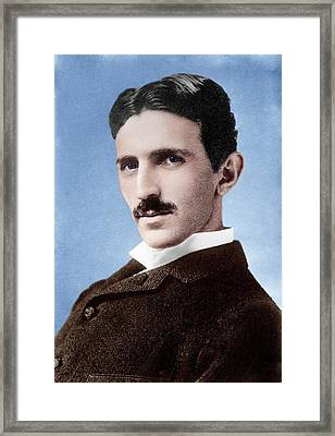 Nikola Tesla Framed Print by Library Of Congress