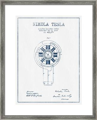 Nikola Tesla Motor Patent Drawing From 1889 - Blue Ink Framed Print by Aged Pixel
