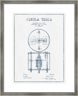 Nikola Tesla Patent Drawing From 1886 - Blue Ink Framed Print by Aged Pixel