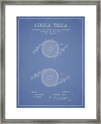 Nikola Tesla Patent Drawing From 1886 - Light Blue Framed Print