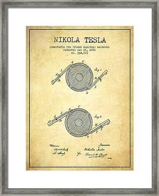 Nikola Tesla Patent Drawing From 1886 - Vintage Framed Print