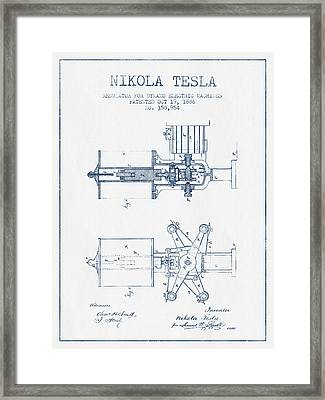 Nikola Tesla Regulator Patent Drawing From 1886- Blue Ink Framed Print by Aged Pixel
