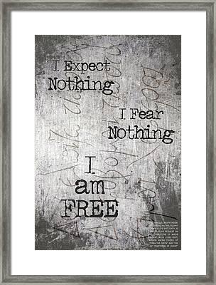 Nikos Kazantzakis - Famous Tombstone Engraving Framed Print by Helena Kay