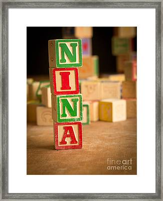Nina - Alphabet Blocks Framed Print by Edward Fielding