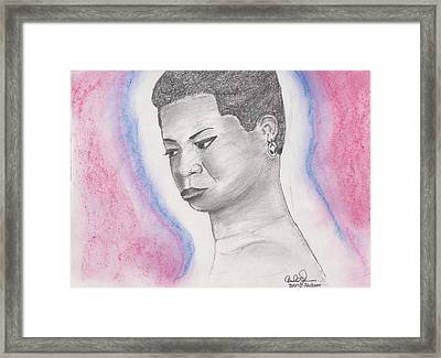 Framed Print featuring the drawing Nina Simone by David Jackson