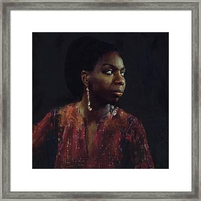 Nina Simone Framed Print by Les Allsopp